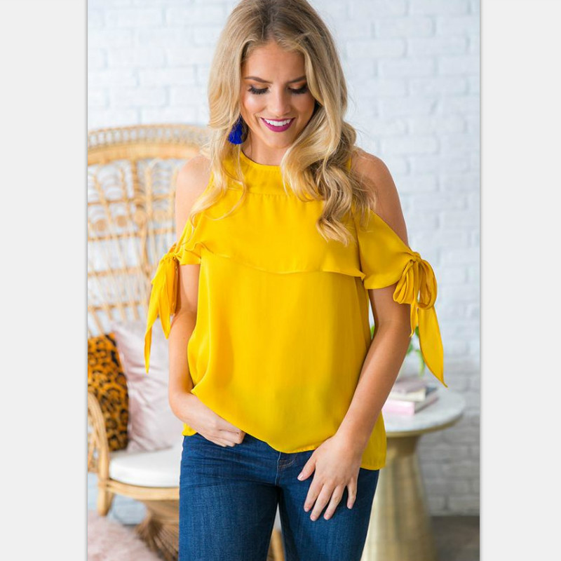 Spring Summer Chiffon Blouse Sexy Off Shoulder Bandage Tie Sleeve Tops Ruffle Loose Shirts Women Blouses Plus Size Blusas Mujer
