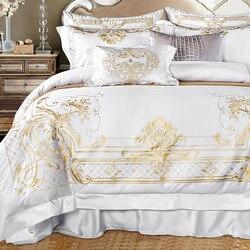 Juego de cama blanco dorado tamaño Queen extragrande juego de sábanas de lujo Egypian algodón bordado sábanas juego de edredón