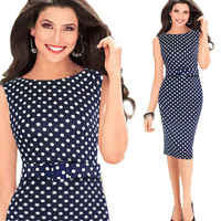Orange X L Women Brief Middle Pencil Dress With Dots Pattern Sleeveless Office Ladies Tailored Working