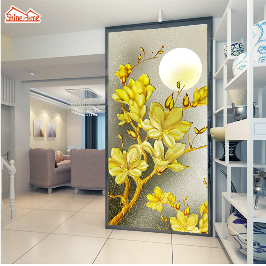 ShineHome-Gold Tree in Moon 3d Wallpaper for Walls 3 d Wallpapers for Living Room 3 d Mural Roll Ceiling TV Background Decor shinehome sunflower bloom retro wallpaper for 3d rooms walls wallpapers for 3 d living room home wall paper murals mural roll