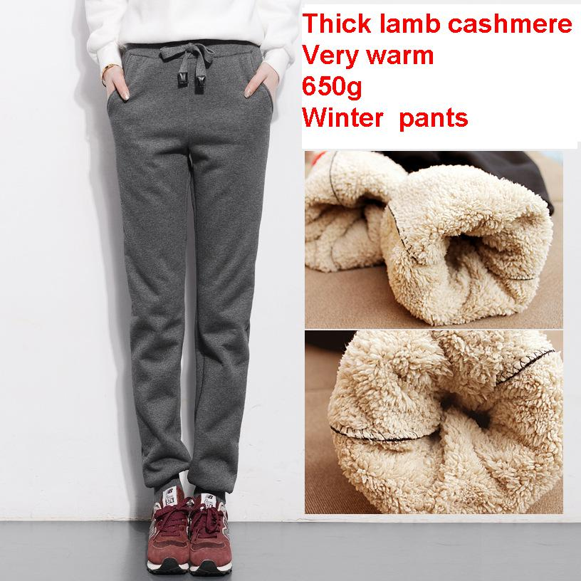 2017 autumn and winter women thick lambskin cashmere pants warm female casual pants loose Harem pants
