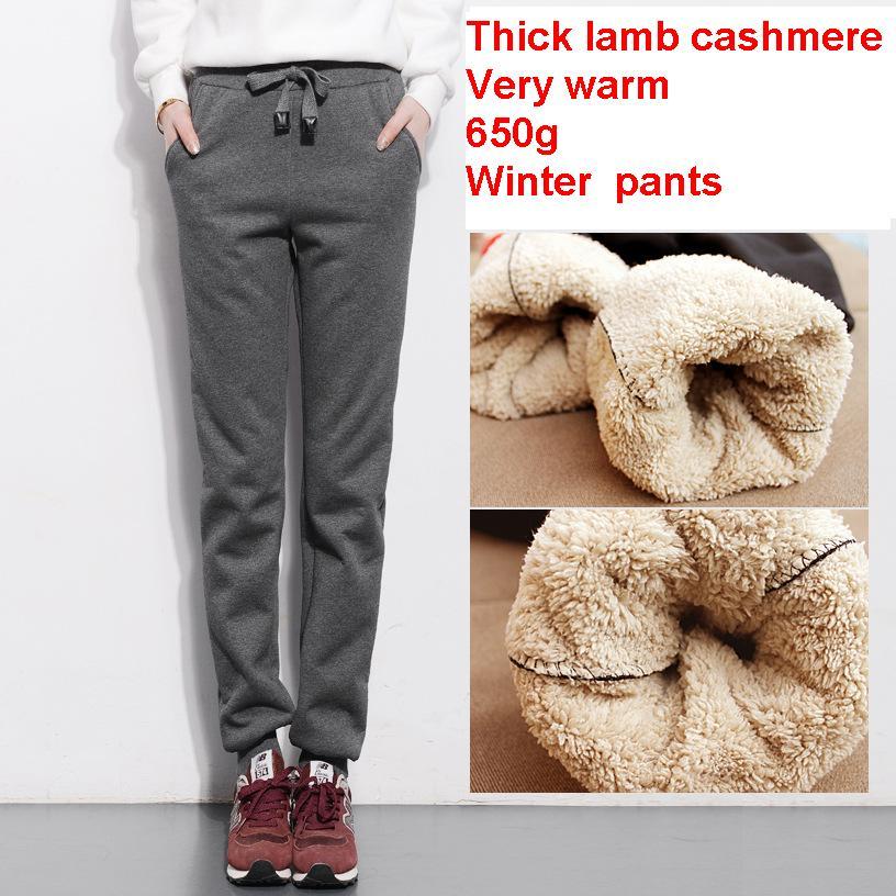 2019 automne et hiver femmes épais pantalon en cachemire d'agneau chaud femme pantalons décontractés lâche Harem pantalon long taille S-4Xl
