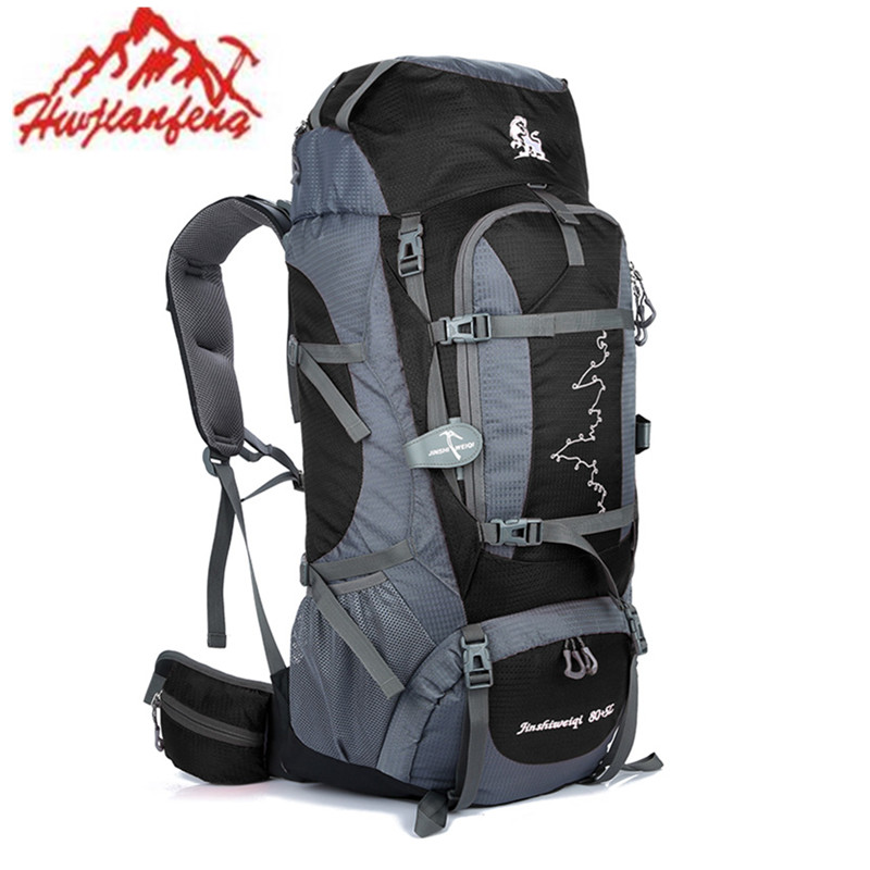 HUWAIJIANFENG Mountain Backpack 85L Unisex Women Men Shoulder Travel with Stents Day Night Embroidery Hiking Camping Outdoor bag  цена и фото