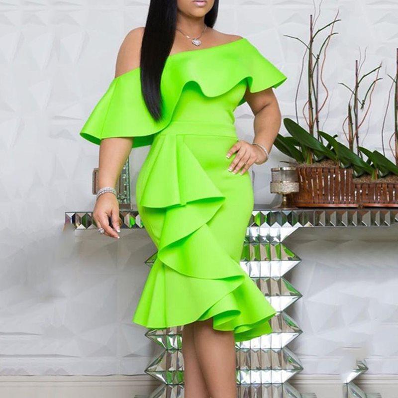 Зеленое женское платье с оборками, сексуальные элегантные женские платья миди с открытыми плечами, 2019 женское африканвечерние вечернее пла...