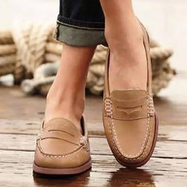 Retro Women Flats Spring Women Shoes Leather Shoes Comfort Walking Shoes Women Loafers Moccasins 2019 Ladies Shoes Plus Size 43 1