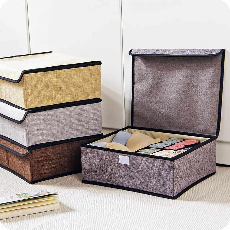 Caixa de armazenamento dobrável cueca meia de algodão de linho projeto 3 cores Closet Organizadores Caixas Para Meias Sutiã Cueca Lenços-66730
