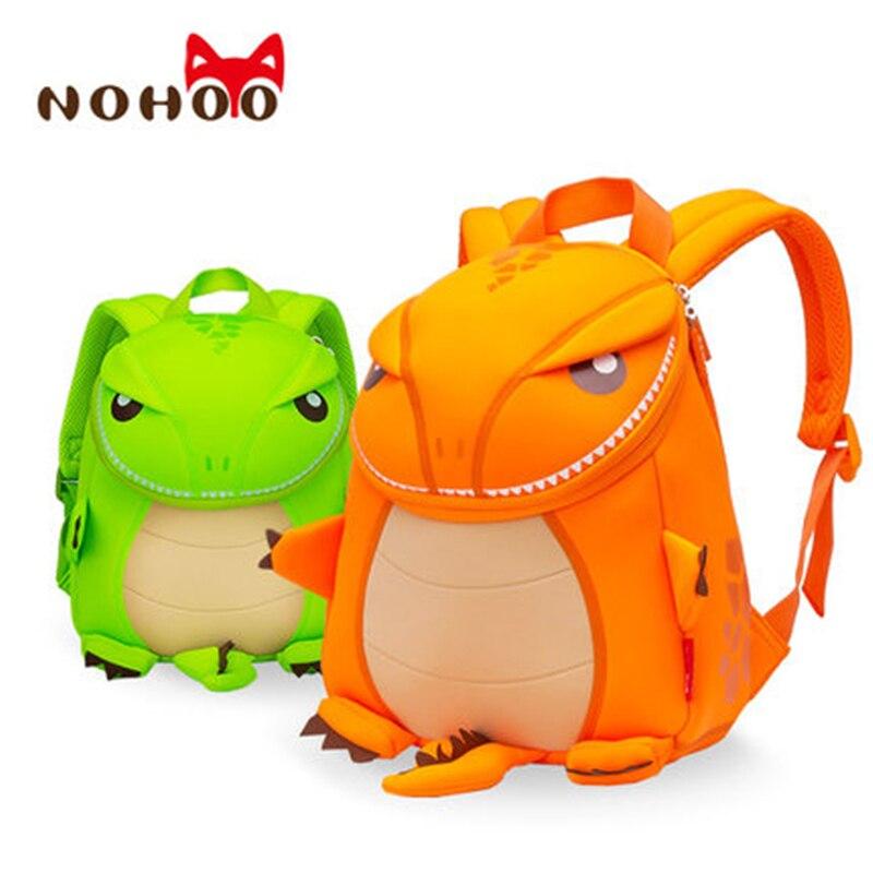 b73a7557cc2b NOHOO Orange Green Dragon Kids Baby Cartoon Waterproof School Bags 3D  Animals Backpack For Girls Boys School Bags For Teenager