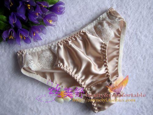 Mulberry silk panties female panties briefs antibiotic care lace