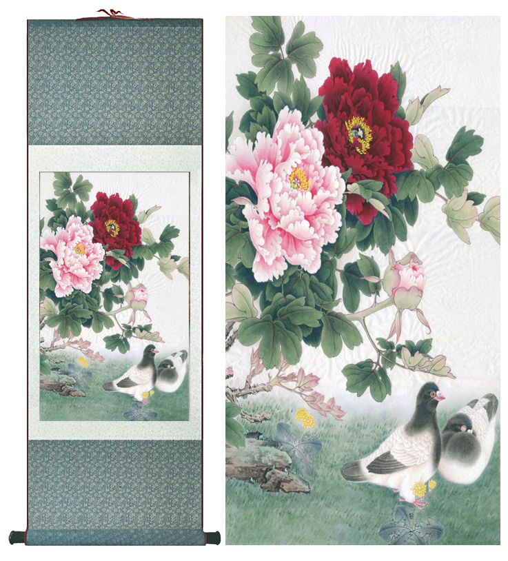 Peony flower and dove painting silk scroll painting traditional peony flower and dove painting silk scroll painting traditional birds and flower painting chinese wash painting mightylinksfo