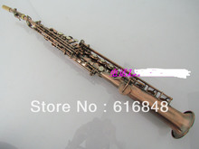 Wholesale sax soprano saxophone B red brass music instruments tan the straight pipe surface