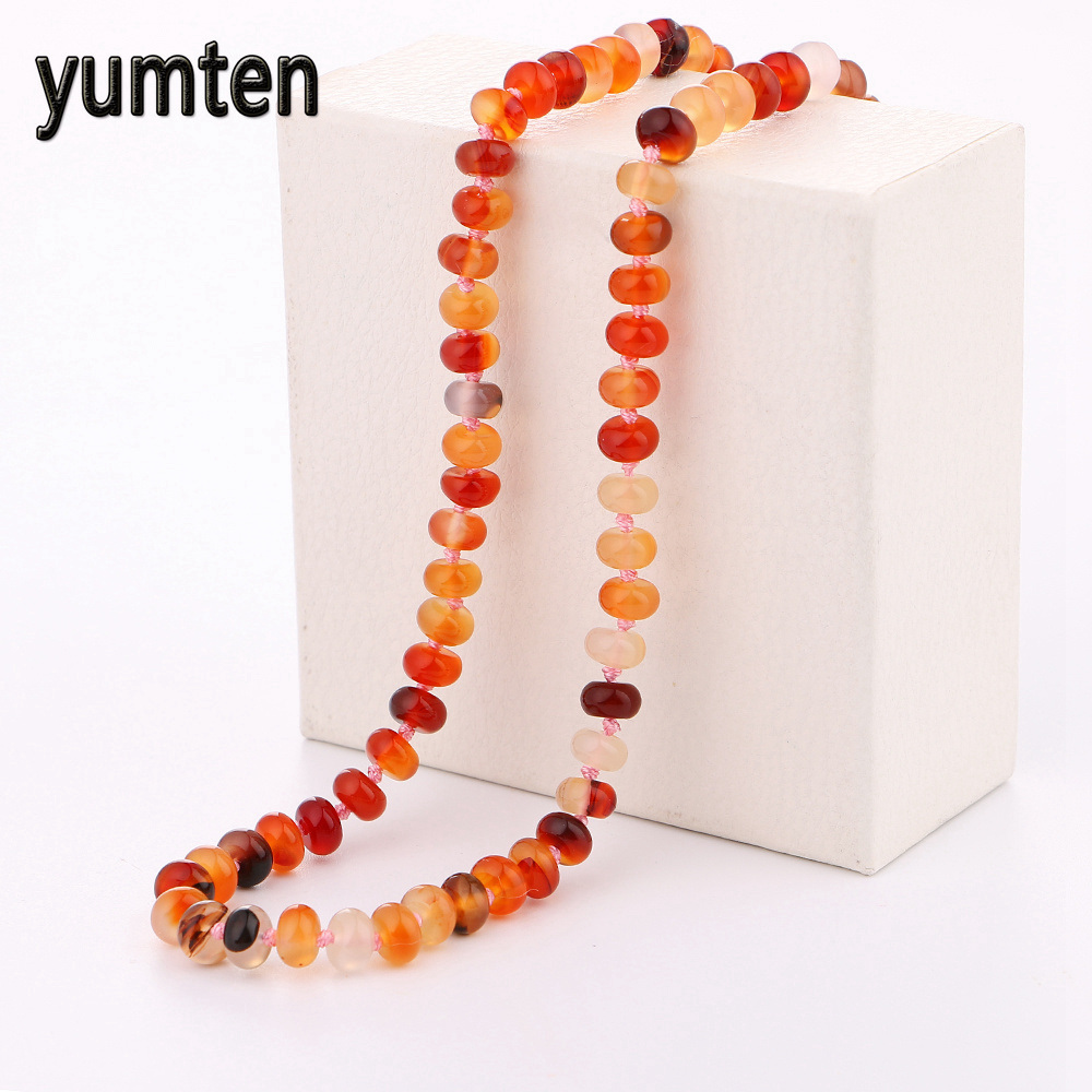 Yumten Agate Power Necklace Natural Stone Jewelry Women Gem Gift Short Greys Anatomy Erkek Kolye Dachshund Collier Boho Overwatc