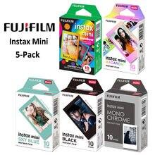 Fujifilm Instax Mini 8 için 9 11 Film kamera 50 yaprak anında fotoğraf kağıdı (gökkuşağı, acıbadem kurabiyesi, tek renkli, siyah, mavi)