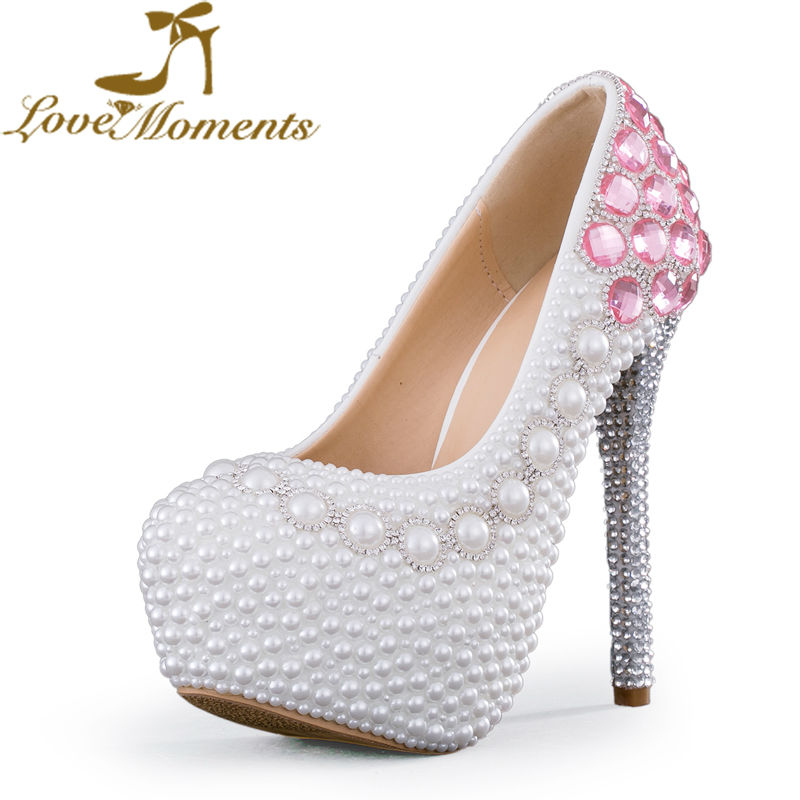 Love Moments White Pearl Pink Crystal Wedding Shoes Customize Lady Formal Dress Shoes Bridal Party High Heels 14cm Prom Pumps cinderella high heels crystal wedding shoes 14cm thin heel rhinestone bridal shoes round toe formal occasion prom shoes