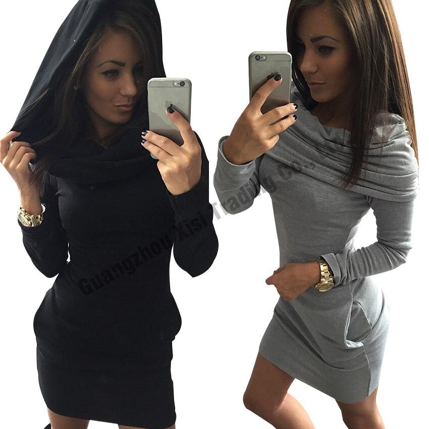 fashionable womens dresses women long sleeve dress 2017 autumn winter women hoodies sweatshirts bodycon dress tracksuit