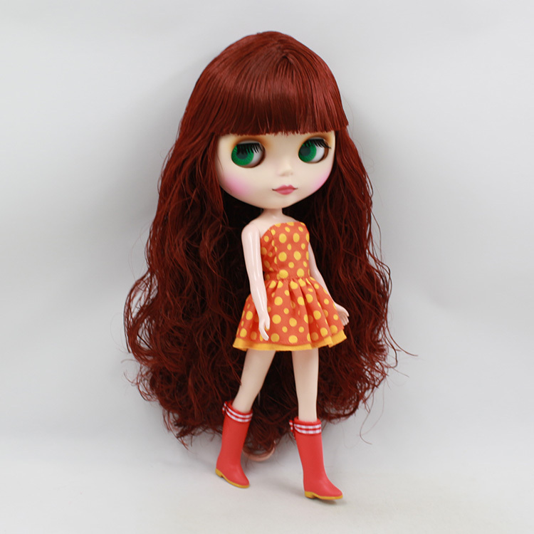 Blyth Nude Doll For Series No.BL0362 Wine red Hair Suitable For DIY Change Toy For Girls blyth nude 30cm fashion red and black boneca cabelos longos bonecos colecionaveis doll toys for children girls