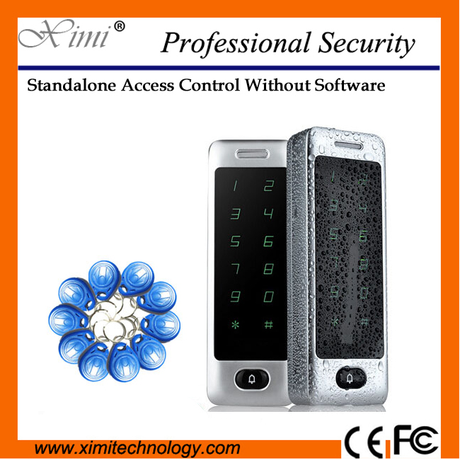 Touch Keypad Metal Surface Waterproof Dustproof Rfid Card Access Control System No Software Single Access Control free shipping touch keypad access control rfid card and touch keypad access control