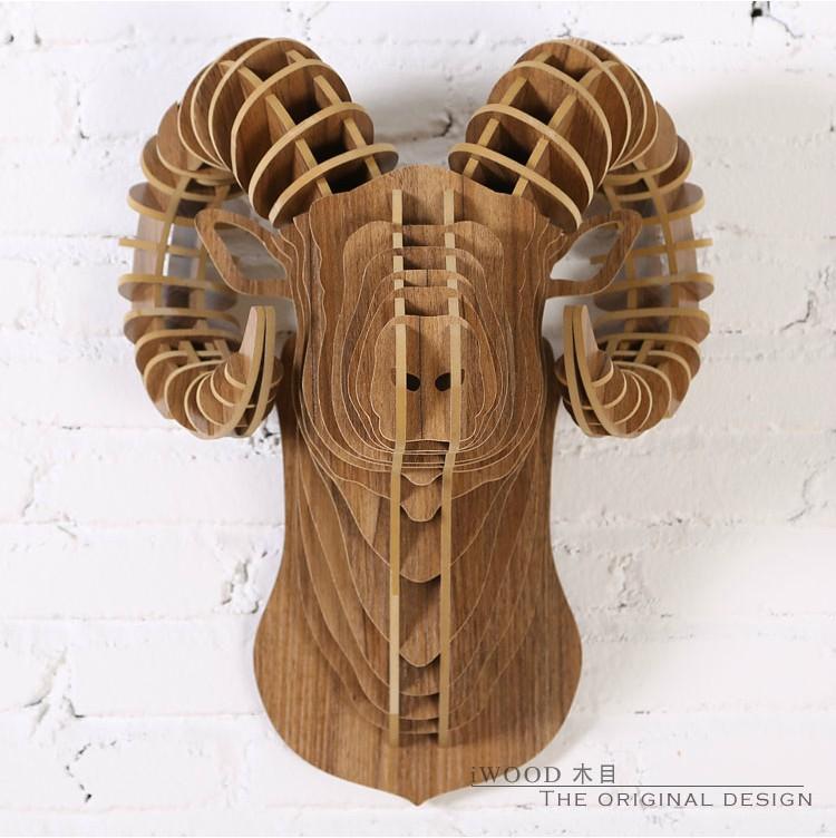 Wall Ram Creative Sheep Home Accessories 3d Diy Wooden Sculpture Crafts Restaurant Decoration