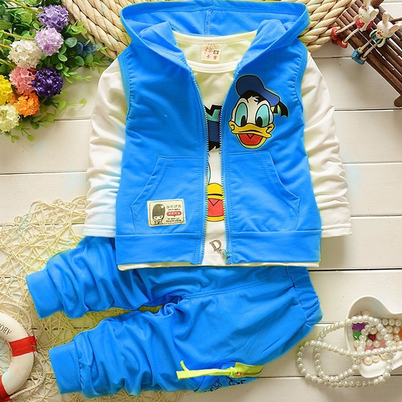 Donald Duck Childrens suit Vest Jacket T Shirt Pants 3pcs casual Cute cartoon pattern baby boy girl clothing Kids sports suit