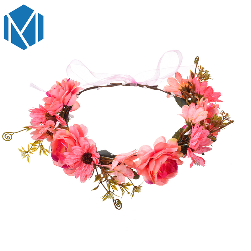 M MISM Girls Wedding Flower Vine Crown Garland Yarn Bowknot Beads - Accesorios para la ropa