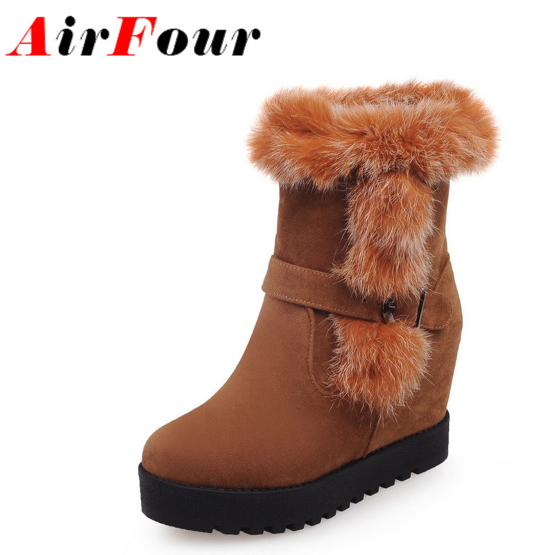 ФОТО Airfour New Winter Women Snow Boots Warm Fur Buckle Half Boots Wedges Heels Platform Shoes Woman Round Toe Heigh Heels Shoes