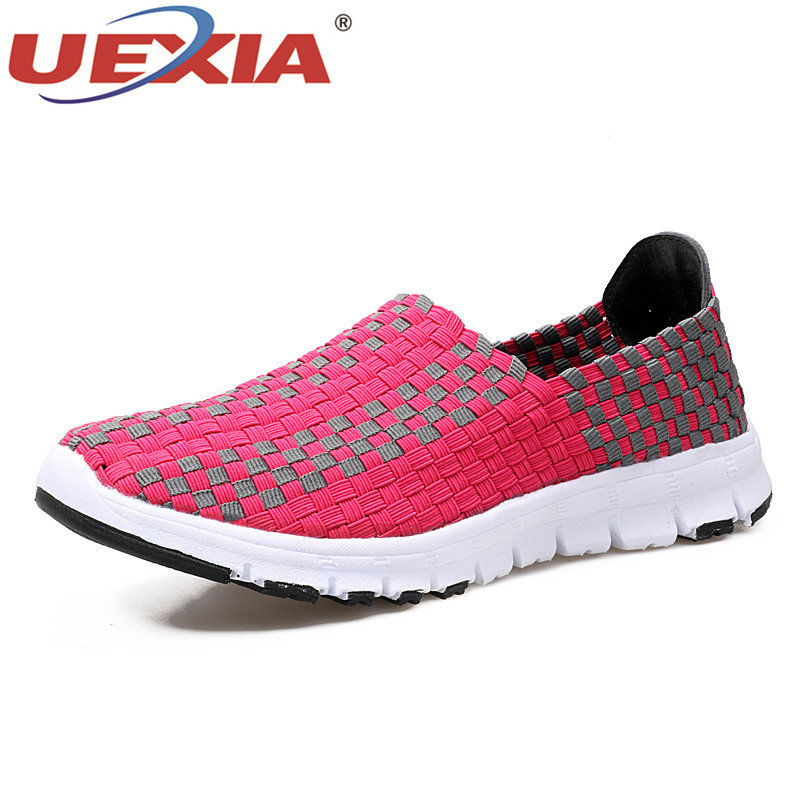 UEXIA Women Flats Summer Casual Shoes Breathable Female Woven Shoes Slip On Ladies Loafers Handmade Shoes Sneakers Trainers цена
