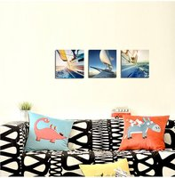 BANMU 3 Pieces Yacht In The Sea Pictures Canvas Wall Artwork Giclee Prints Modern Home Decor