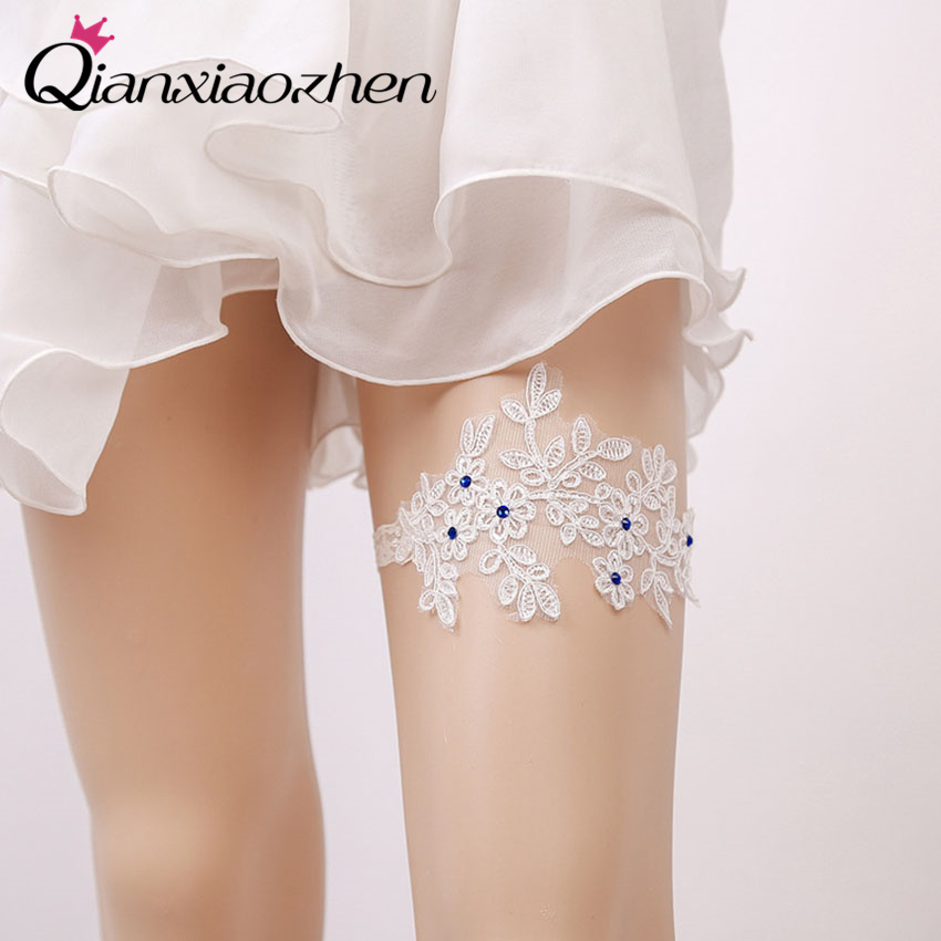 Wedding Leg Garter: Qianxiaozhen Blue Rhinestone Lace Leg Wedding Garter