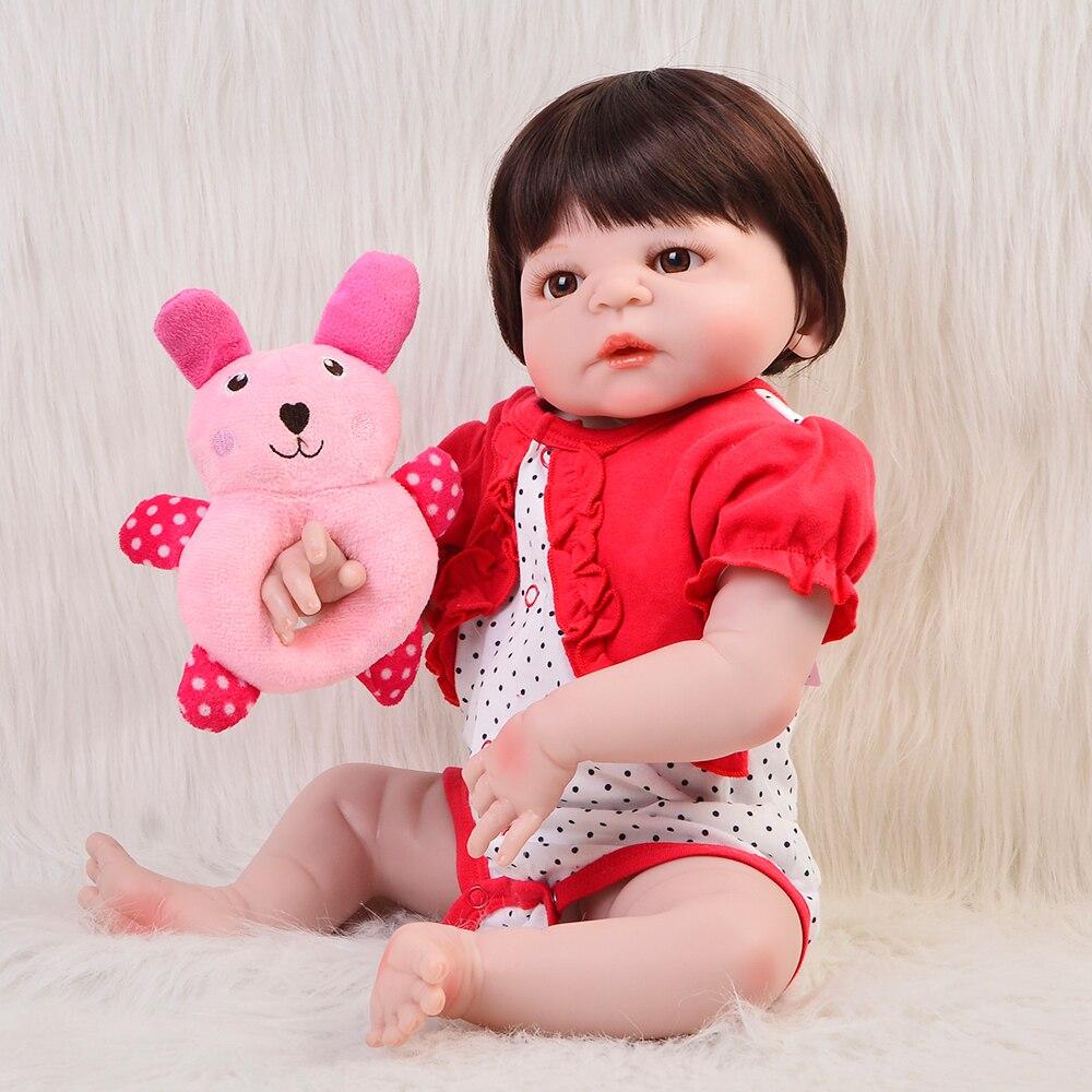 Fashion Babies 23'' Lifelike Reborn Dolls Full Silicone Vinyl 57 cm Realistic Reborn Handmade Bebe Doll Girl Hot Birthday Gift handmade chinese ancient doll tang beauty princess pingyang 1 6 bjd dolls 12 jointed doll toy for girl christmas gift brinquedo