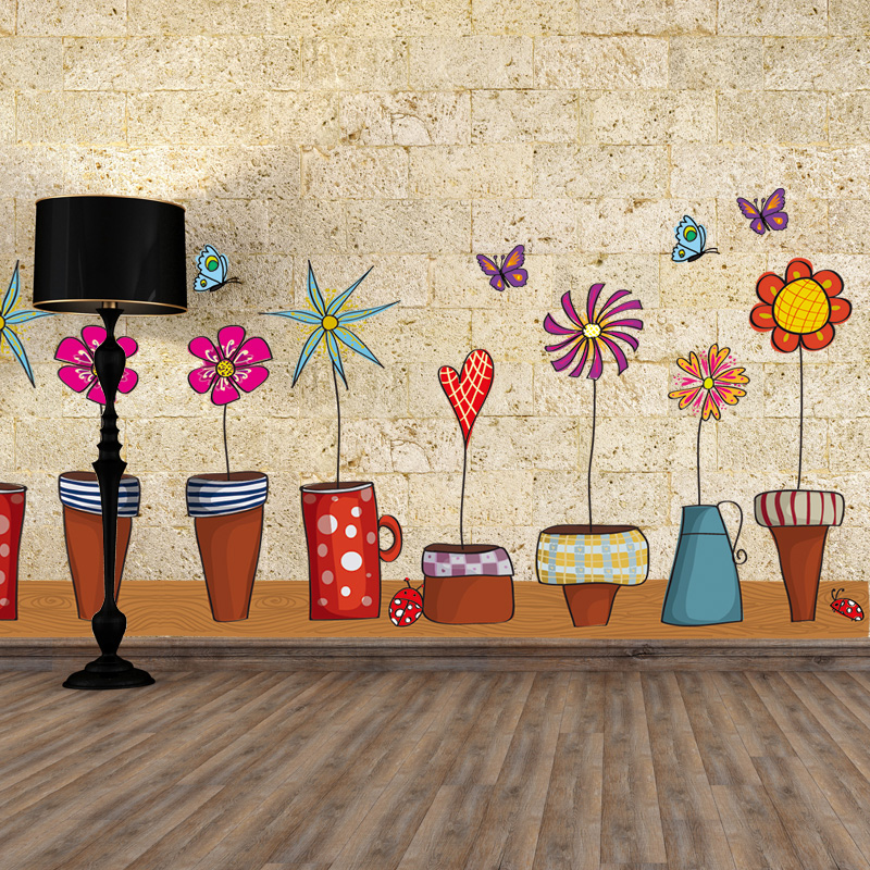 Wall Stickers Home Decor Waterproof Colorful Bonsai Flower ...