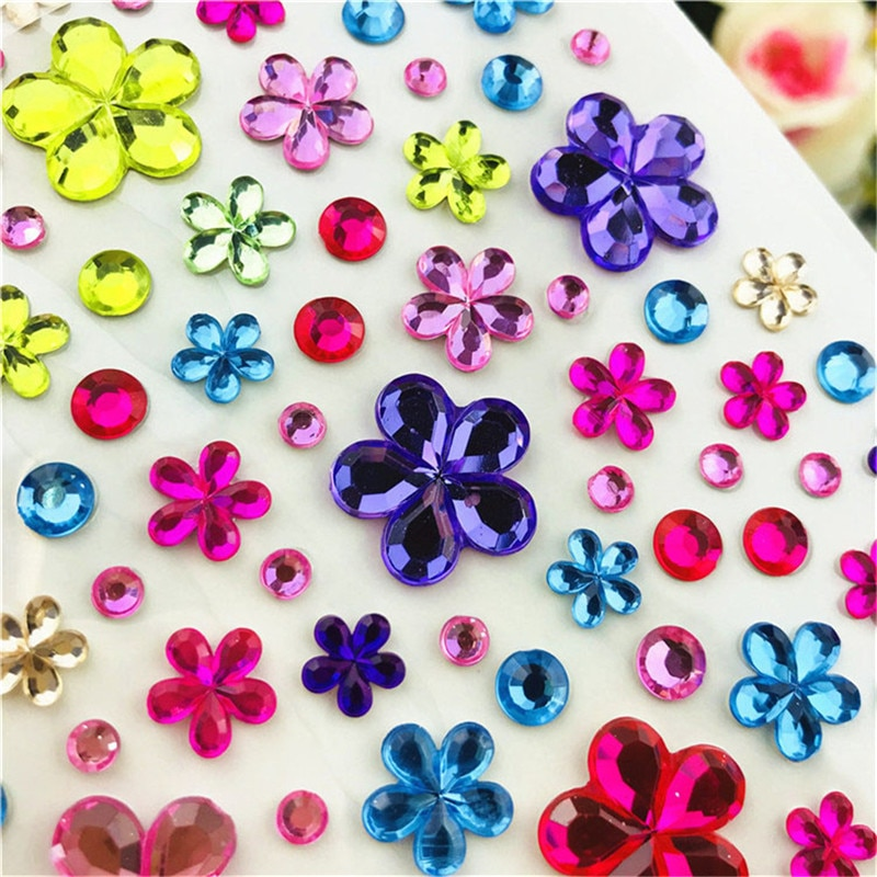 Self Adhesive Glitter Flower Crystal Gems Jewel Diamond Sticker Rhinestone Strip Scrapbooking DIY Decal Color Sent Randomly