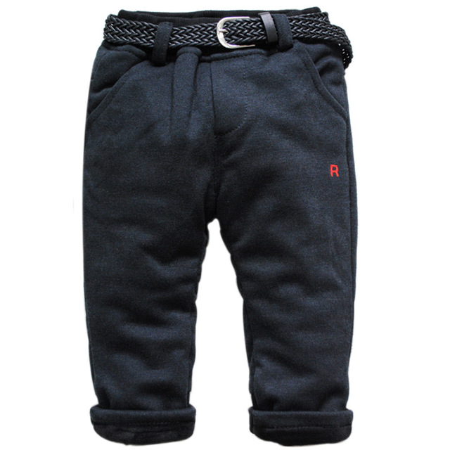 6226 Thick winter elastic waist black baby trousers very warm boy pants girls fleece and Middle cotton  boys girls baby pants