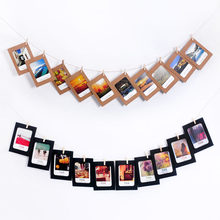 Colorful 10Pcs Paper DIY Wall Photo Frame For 6 inch Photo Clips and Rope DIY Hanging Wall Picture Album Kraft Home Decoration(China)