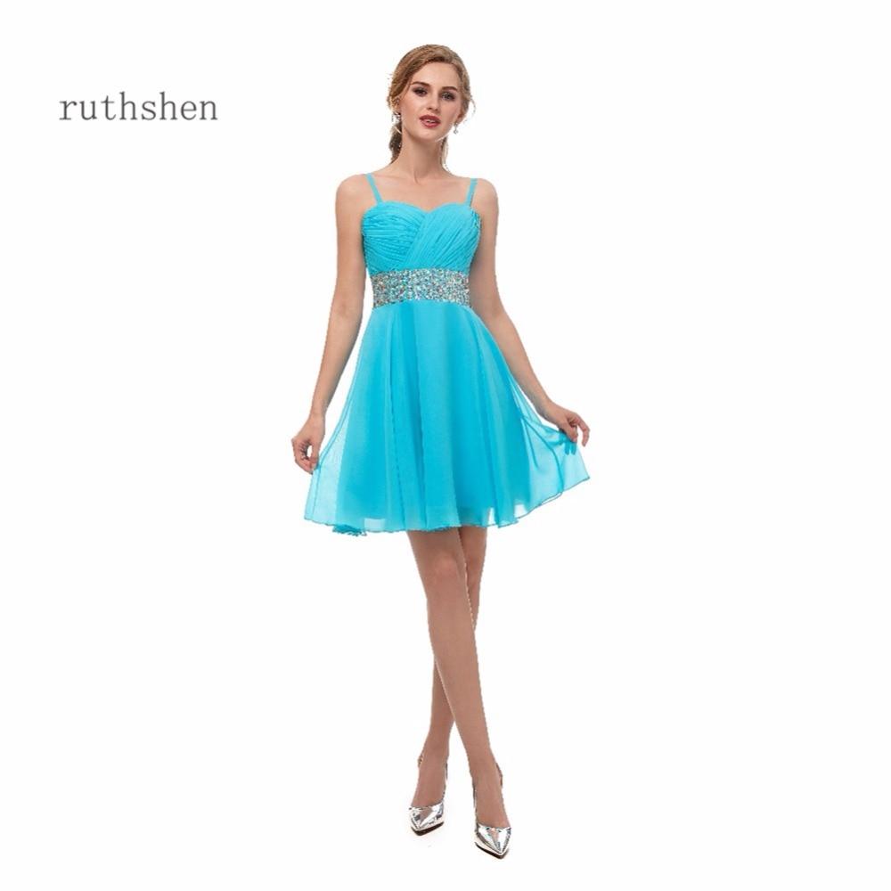 Ruthshen New Arrivals Blue Short Cocktail Dresses Sleeveless Sweetheart Neck Vestidos Coctel Cheap In Stock Vestido Coctel Corto