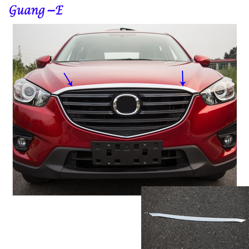 Car cover ABS chrome panel front engine Machine racing grill grille hood stick trim lamp For Mazda CX-5 CX5 2013 2014 2015 2016 car panel body cover protection trim front up grid grill grill racing 1pcs for nissan march 2011 2012 2013 2014 2015 2016 2017