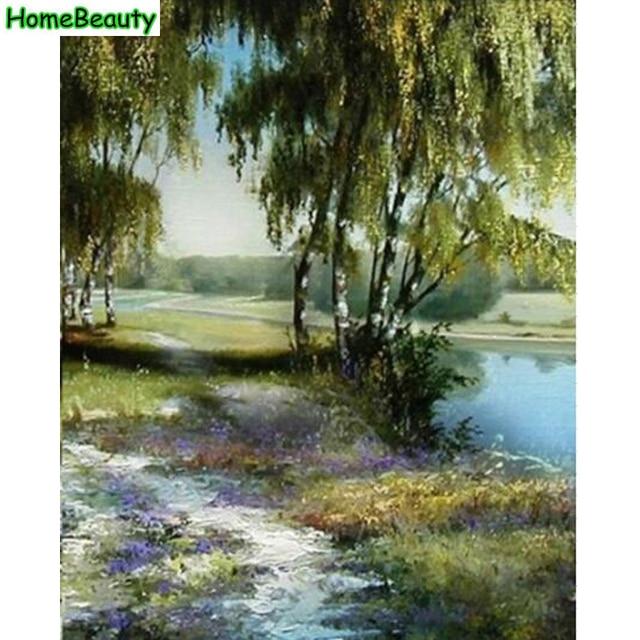 Inizio Bellezza pittura calligrafia paesaggio del fiume alberi ...