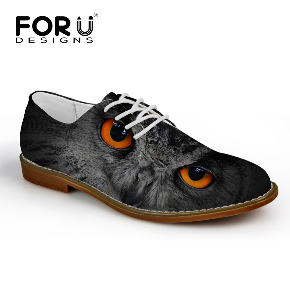 FORUDESIGNS Cool 3D Animals Black Owl Printed Men's Leather Shoes Casual Male Breathable Lace Up Flats Men Spring Autumn Shoes