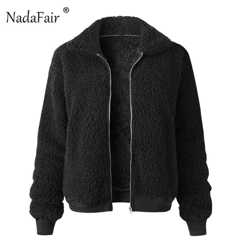 Nadafair Faux Fur Coat Women Autumn Winter Fluffy Teddy Jacket Coat Plus Size Long Sleeve Outerwear Turn Down Short Coat Female 22