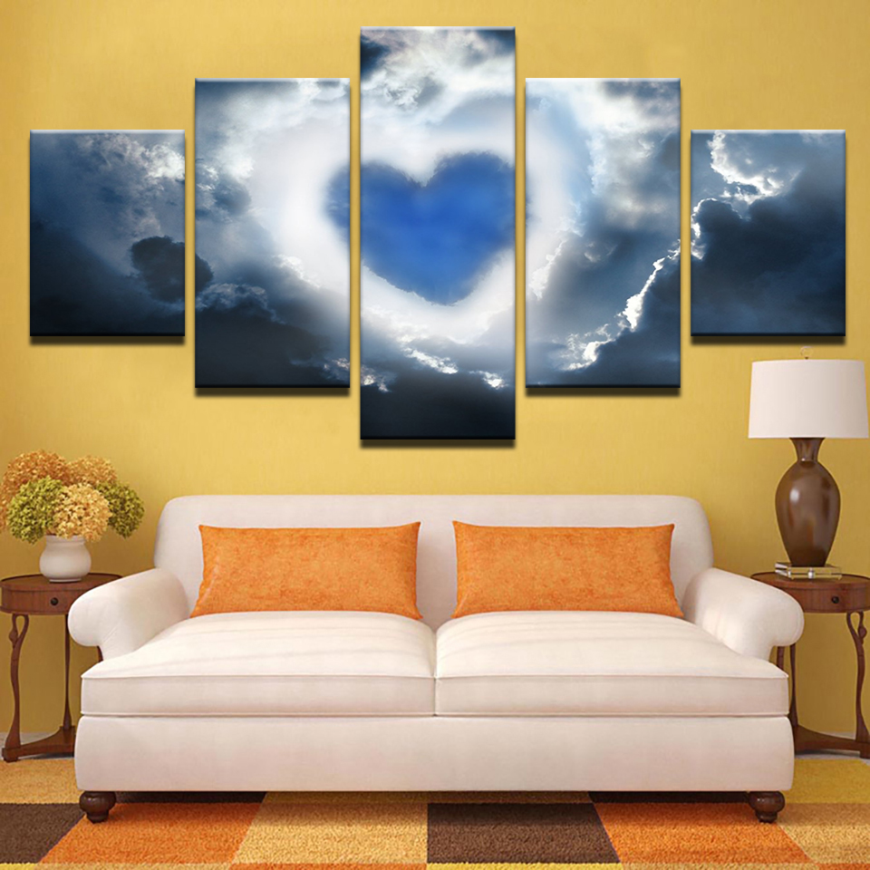 Canvas Home Decor Wall Art Modular Pictures 5 Pieces Love