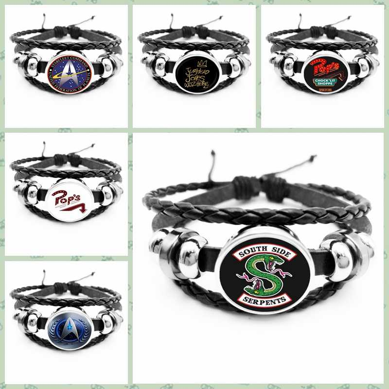 2019HOT! Arrival At The Riverdale Leather Bracelet Riverdale Jewelry Glass Dome Rotating Black Men's Bracelet