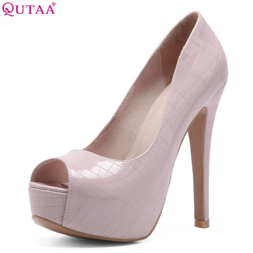 QUTAA 2018 Women Pumps Pu Leather Fashion Women Shoes Slip on Thin High Heel Sexy Peep Toe Ladies Wedding Pumps Size 34-43 qutaa 2017 silver women pumps thin high heel peep toe slip on platform sexy summer pu leather ladies wedding shoes size 34 43