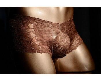 Ropa interior de encaje bolsa boxershorts hombre bragas sexy ropa interior calzoncillo hombre transparente boxer algodon hombre