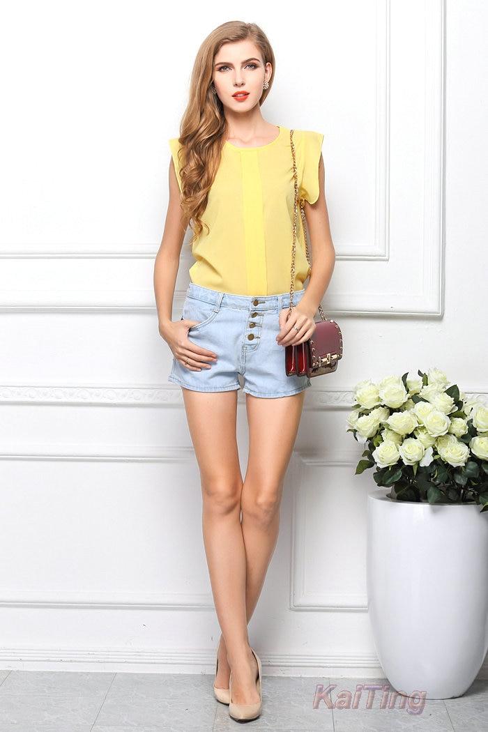 HTB1mUHSGFXXXXawXFXXq6xXFXXXG - Short Butterfly Sleeve Women Blouses Clothing Casual Chiffon Shirt