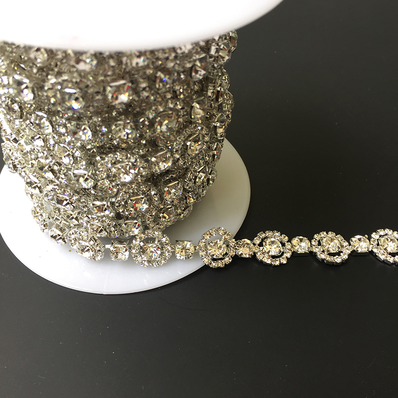 New Arrival 10Yards Clear Silver Rhinestone Crystal Trim Tone Chain Bridal Applique Trimming