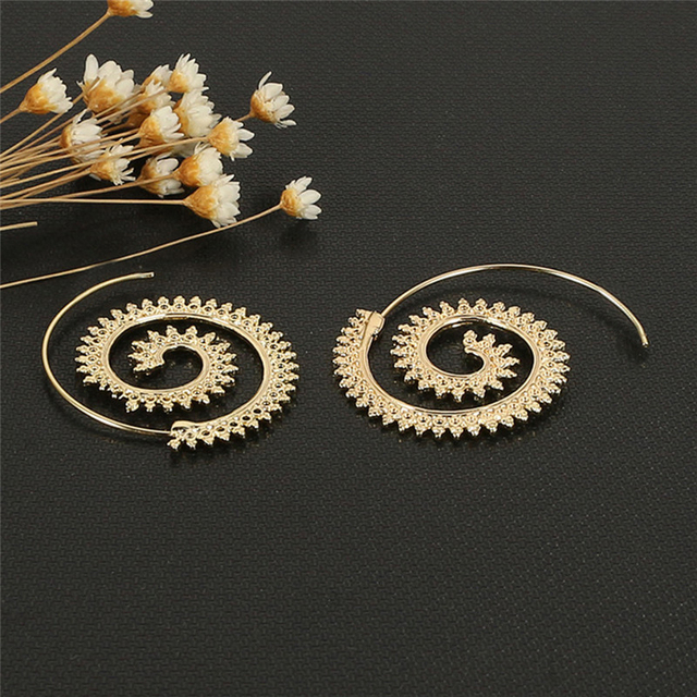 1 Pair Spiral Charms Indian Ethnic Tribal Hoop Earrings Women Silver Unique Design Piercing Jewelry