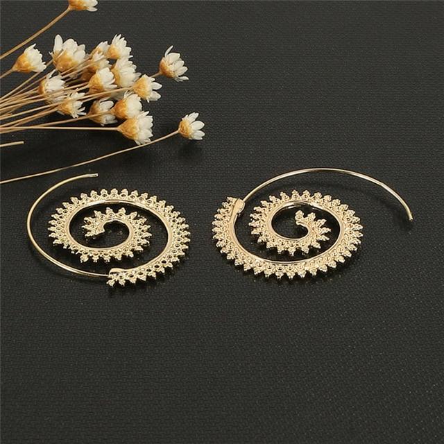 511c828ca23e 1 par espiral Amuletos indio étnico tribal Pendientes de aro mujeres plata  Pendientes diseño único joyería