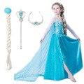 2015 эльза платье девочек костюмы для детей снежная королева косплей платья принцесса анна платье детей ну вечеринку платья фантазия vestidos