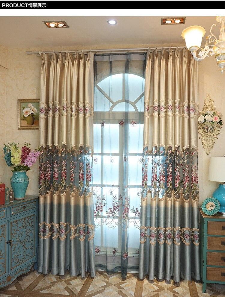 Berongga Diukir Jacquard Mewah Tirai Ruang Tamu Dapur Voile