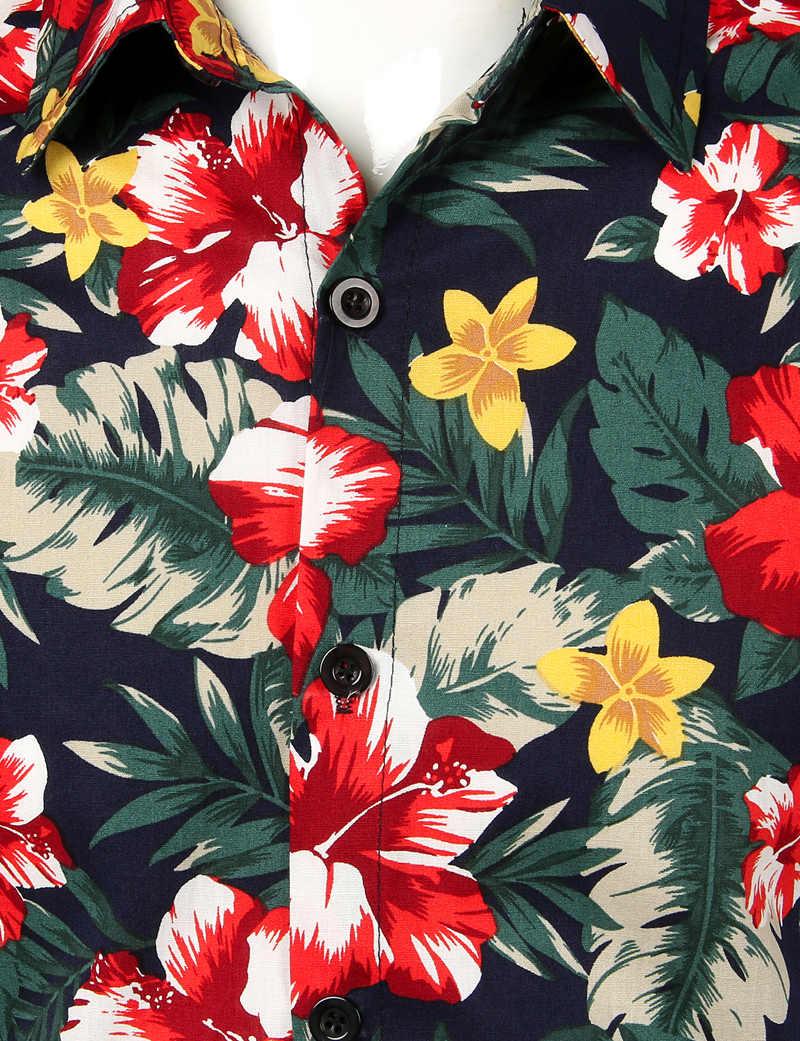 Модная Цветочная гавайская рубашка для мужчин, новинка 2019 года, хлопковая рубашка с коротким рукавом, мужская повседневная Пляжная рубашка, Social Masculina
