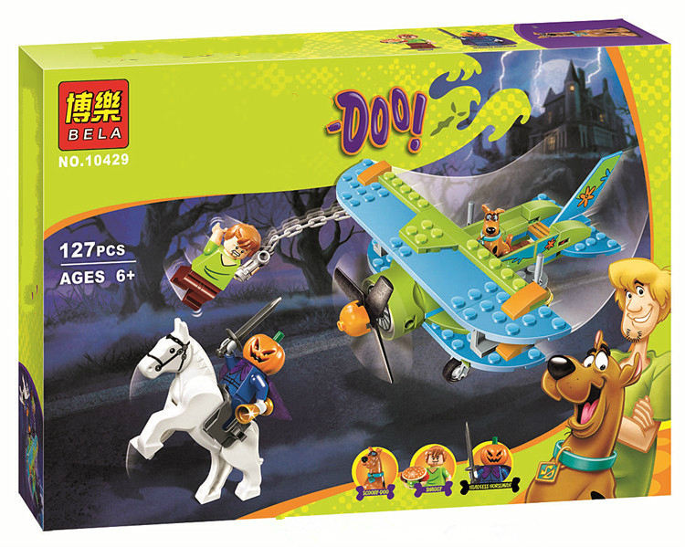 127 Pcs Scooby Doo Mystery Plane Adventures Momia Museo Misterio Plane Kits Figures Building Block 75901 10429 2017 new kids clothes autumn children sleeveless dress and girls new banana leaf princess dress jacquard fashion dress for girl