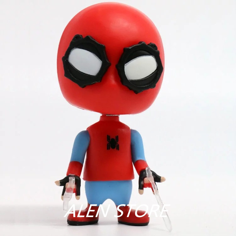 ALEN Spider Man Gliding Q Version Spider-Man Homecoming Bobble Head Spiderman PVC Action Figure Model Toy 10cm
